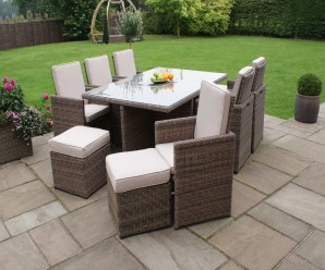 Maze Rattan Winchester 6 Seat Cube Set With 6 Footstools - Image 1