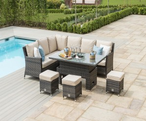 New Rattan Kingston Corner Dining Corner Sofa Set with rising table In Brown Flat Weave - Image 1
