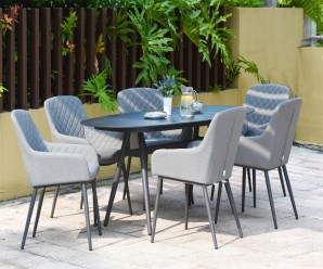 Maze Zest 6 Seater Oval Outdoor Fabric Garden Dining Set