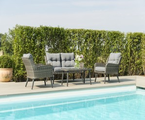 Maze Rattan Florence 2 Seater Garden Sofa Set With Armchairs