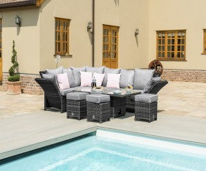 Maze Rattan Henley Corner Garden Sofa Dining Set With Adjustable arms