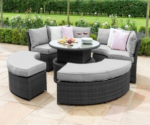 Maze Rattan Chelsea Lifestyle Suite Garden Sofa Set With Round Rising Table & Daybed