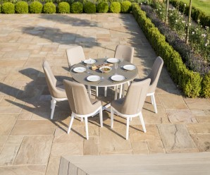 Maze Pacific 6 Seater Round Outdoor Fabric Dining Set
