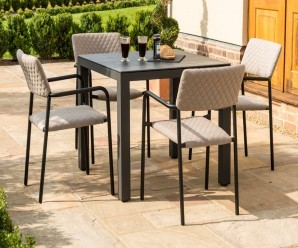 Maze Bliss 4 Seat Round Outdoor Fabric Dining Set In Beige Colour