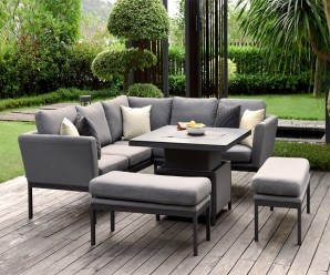 Maze Pulse Outdoor Fabric Square Corner Dining Sofa Set With Rising Table