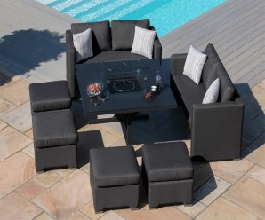 Maze Fusion Sofa Cube Set With Fire Pit in Charcoal Colour