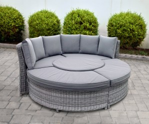 New Cambridge Deluxe Curved Daybed With Polywood Rising Table - Rattan Daybed