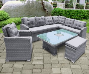 Niagara XL Deluxe Garden Corner Dining Set With Ice Bucket Rising Table With Armchair