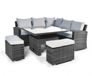 Maze Rattan Deluxe Kingston Corner Sofa Dining Set with Rising Table - Grey