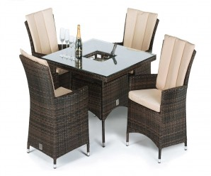 Maze Rattan - LA 4 Seat Square Dining Set with a Luxury Inset Ice Bucket Table