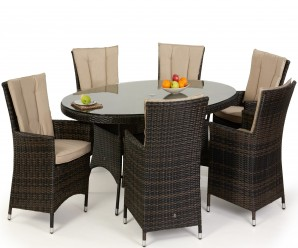 Maze Rattan LA 6 Seat Oval Dining Set In Brown Rattan Colour - Image 1