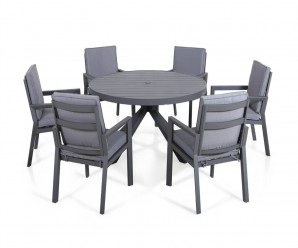 Maze Rattan New York 6 Seat Round Dining Set