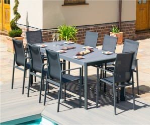 Maze New York 8 Seat Rectangular Aluminium Dining Set