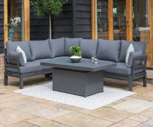 Maze Rattan Oslo Outdoor Fabric Corner Sofa Group With Rising Table