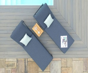 Maze Rattan Oslo Double Sunlounger Set - Charcoal Grey.