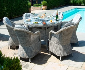 Maze Rattan Oxford 6 Seater Round Heritage Fire Pit Dining Set