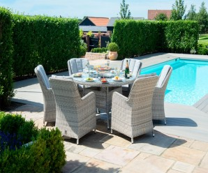 Maze Rattan Oxford 6 Seater Round Fire Pit Dining Set With Venice Chairs