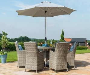 Maze Rattan Oxford 6 Seater Round Ice Bucket Dining Set With Parasol Hole