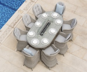 Maze Rattan Oxford 6 Seater Oval Heritage Fire Pit Dining Set With Rounded Chairs