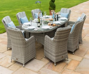 Maze Rattan Oxford 8 Seat Oval Ice Bucket Dining Set and Lazy Susan