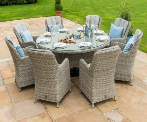Maze Rattan Oxford 8 Seater Round Ice Bucket Dining Set with Venice Chairs and Lazy Susan
