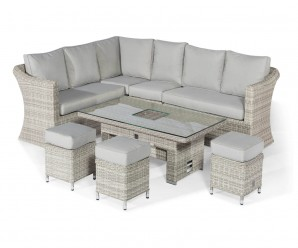 Maze Rattan Oxford Deluxe Large Corner Sofa Dining Set With Rising Table & Ice Bucket