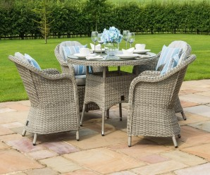 Maze Rattan Oxford 4 Seater Round Dining Set with Rounded Chairs From Rattan Furntiure Fairy