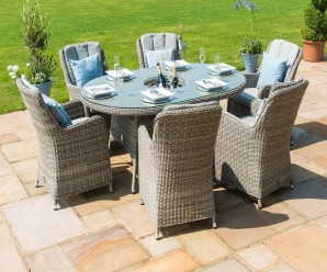 Maze Rattan Oxford 6 Seater Oval Ice Bucket Dining Set with Venice Chairs and Lazy Susan