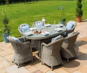 Maze Rattan Oxford 6 Seat Oval Ice Bucket Dining Set with Rounded Chairs & Lazy Susan