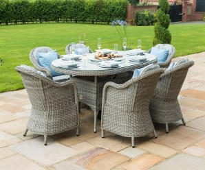 Maze Rattan Oxford 6 Seat Oval Ice Bucket Dining Set with Rounded Chairs & Lazy Susan - Image 1
