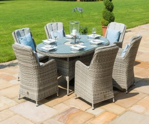 Maze Rattan Oxford 6 Seater Oval Ice Bucket Dining Set with Venice Chairs and Lazy Susan - Image 1