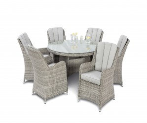 Maze Rattan Oxford 6 Seat Round Garden Dining Set and Venice Chairs - Image 1