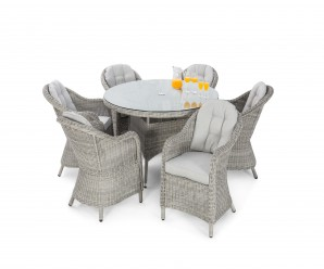 Maze Rattan Oxford 6 Seat Round Dining Set with Rounded Chairs White up - Image 1
