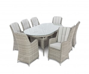 Maze Rattan Oxford 8 Seater Oval Garden Dining Set with Venice Chairs white Up - Image 1