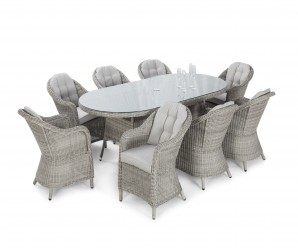 Maze Rattan Oxford 8 Seat Oval Garden Dining Set with Rounded Chairs - Image 1