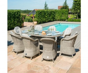 Maze Rattan Oxford 8 Seater Oval Fire Pit Dining Set With Heritage Chairs