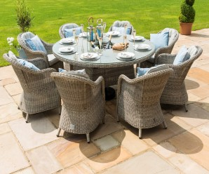 Maze Rattan Oxford 8 Seat Round Ice Bucket GardenDining Set with Rounded Chairs & Lazy Susan - Image1
