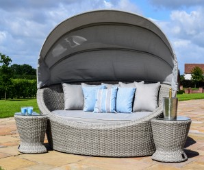 Maze Rattan Oxford Garden Furniture Daybed with Side Tables - Image 1