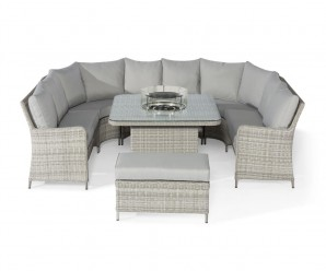 Maze Rattan Oxford Royal U-Shaped Sofa Set With Fire Pit