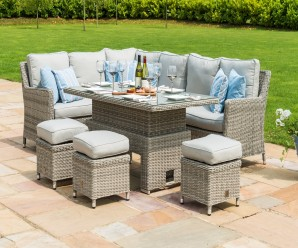 Maze Rattan Oxford Casual Corner Sofa Dining Set with Inset Ice Bucket Rising Table - Image 1