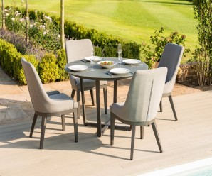 Maze Pacific 4 Seater Round Outdoor Fabric Dining Set