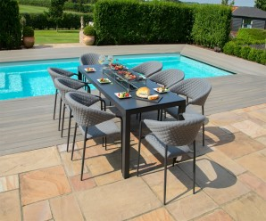 Maze Pebble Outdoor Fabric 8 Seat Rectangular Fire Pit Dining Set - Flanelle