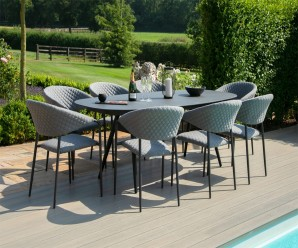 Maze Pebble Outoor Fabric 8 Seat Oval Dining Set - Flanelle Colour
