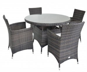 Maze Rattan Figari 4 Seat Round Garden Dining Set In Brown Rattan Colour - Image1