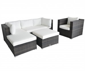 Maze Rattan Cannes 4 Piece Garden Sofa Set With Footstools