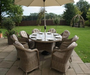 Maze Rattan Winchester 8 Seat Round Dining Set with Round Chairs - Image 1
