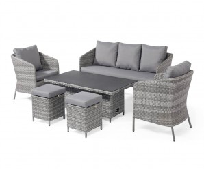 Maze Rattan Santorini Garden Sofa Dining Set With Rising Table