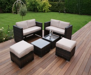 Maze Rattan 4 Seat Sofa Cube Set With 2 Footstools - Image 1
