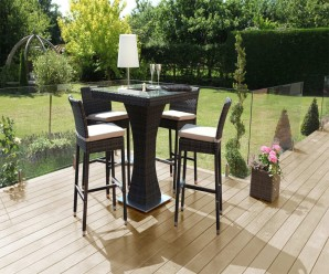 4 Seat Square Bar Set with inset Ice Bucket - Maze Rattan