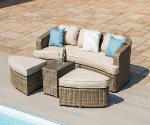 Maze Rattan Tuscany Toronto Garden Furniture Daybed In Natural Flat Weave Colour
